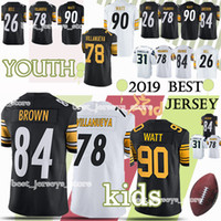 Wholesale bell child resale online - Kids Pittsburgh jerserys Steeler Antonio Brown Alejandro Villanueva child T J Watt Bell new jersey YOUTH