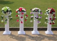 ingrosso romanzo di plastica di nozze-Altezza libera di trasporto 89cm (35 pollici) Strada romana piombo Roma plastica stile colonna con fiore e vaso di fiori per centro commerciale aperto props.