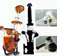 schwarze weiße ölkunst großhandel-AUF LAGER schwarz weiß Amber Sherlock Handpfeife Glasölbrenner Mini Rauchpfeife Glass Blunt Glasbongs für trockenes Kraut