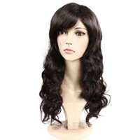 Wholesale celebrity wig online - Girls Fashion Tilted Frisette Wavy Curly Long Hair Women Cosplay Celebrity Wigs