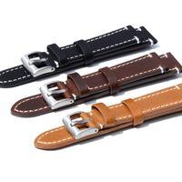 23mm bandas de reloj al por mayor-2019 Correa de reloj de cuero 18 19mm 20mm 21mm 22mm 23mm marrón Correa de reloj Hebilla de acero inoxidable para