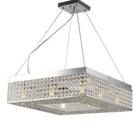 Wholesale brushed stainless steel ceiling for sale - Group buy modern minimalist led ceiling chandelier Crystal Hanging Lamp Square Ceiling Lamp living room Lamparas restaurant bedroom lamp Home MYY