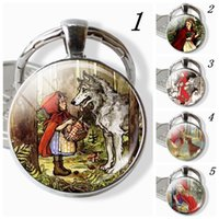 Wholesale hood figure resale online - Little Red Riding Hood and Wolf Grandma Keychains Handmade Fairy Tale Story Glass Dome Pendnat Jewelry Gift for Kids