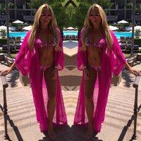 lenço branco sexy venda por atacado-Mulheres Sexy Chiffon Long Beach Vestido Bikini Cover-Ups Sarong Rosa Vermelha Biquíni Branco Swimwear Swimsuit Cover Up Cachecol