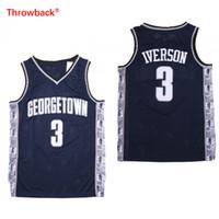 schnelles trikot großhandel-NCAA Herren Georgetown Hoyas Iverson College Jersey Günstige 3 Iverson University Basketball Trikots Größe S-2XL Schnelle Lieferung
