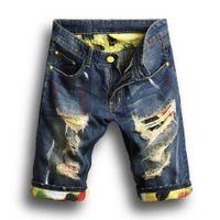 новые тенденции моды для мужчин оптовых-Модные Мужские Джинсовые Джинсы Тонкие Прямые Брюки Тенденции Мужские Дизайнерские Брюки Новые Летние Мужские Отверстия Джинсовые Шорты