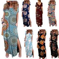 xl длина длинное платье втулки оптовых-Женские длинные свободные платья макси Лето Богемия с цветочным цветочным принтом Этаж V-образным вырезом с меховым карманом с короткими рукавами Длина Повседневные платья LJJA2552