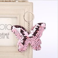 Wholesale beautiful butterfly rings resale online - Glitter Sequins Beautiful Butterfly Keychain Colorful Sequins Key Chain Gift for Women Girl Car Bag Accessories Key Ring