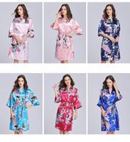 chicas de seda sexy lady al por mayor-Seda de las mujeres ropa de dormir de satén de flores sexy pavo real impreso camisón media manga dama niña largo kimono salón