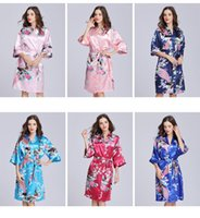 Wholesale women s silk sleep set resale online - Women Silk Satin Sleepwear Sexy Flower Peacock Printed Nightgown half sleeve lady girl long kimono lounge