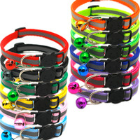 Wholesale collar bell for dog resale online - Adjustable Reflective Dog Collars Pet Collars With Bells Charm Necklace Collar For Little Dogs Cat Collars Pet Supplies Hot Sale DBC VT0835