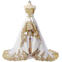 mulher azul vestido de ouro venda por atacado-2019 Elegante Ouro Lace Appliques Querida Vestidos de Baile Hi-Lo Sweep Trem Vestidos de Noite Personalizado Plus Size Mulheres Vestido Formal