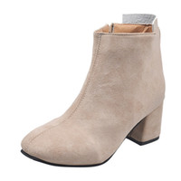 Wholesale thick heel working shoes women resale online - Women Flock Thick Heel Zipper Ankle Boots Ladies Simple Style Square With Single Boots Shoes Casual Office Work Short Shoes Boot