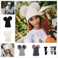 Wholesale winter pom beanies resale online - Double Fur Ball Beanie Parent Child Knit Crochet Fur Pom Ski Cap Winter Warm Pom Pom Hat Party Hats OOA6010
