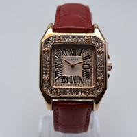 quartzo relógio strass venda por atacado-Rhinestone 35mm praça pulseira de couro de quartzo roman digital de luxo mulheres designer de relógio dropshipping das mulheres relógios de ouro presentes mulheres relógio de pulso