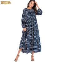 koreanischer strand kleidet ärmel großhandel-Mode koreanisches Kleid Polka-Punkt-Druck Weinlese-Maxi lange Kleid mit Rüschen Langarm Boho Kleidern Strand-Kleider Designerkleidung