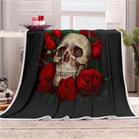 arte de veludo venda por atacado-Cobertor de sesta Super Macio Cozy Velvet Throw Cobertor Floral Crânio Linha Arte Moderna Sherpa para o Sofá Jogar Viagem