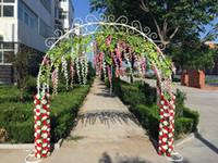 ingrosso telai da festa nuziale-Stile europeo White Bridal Arch Frame Sfondo Decorazione Cherry Blossom Arco in ferro Flower Stand Porta Festa di Nozze Puntelli