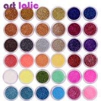 tırnak cilası karışık renkler toptan satış-40pcs / Set Tırnak Glitter Mix Renkler Nail Art Güzel Glitter Toz Toz UV Jel Lehçe Akrilik Tırnak İpuçları DIY Dekorasyon Araçları