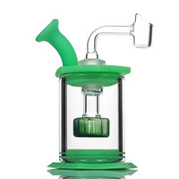 Wholesale glass resale online - 4 quot Assemble Silicone Bong Glass Shower Head percolator Easy clean Dab Rigs with mm quartz banger silicone pipe mini glass bongs