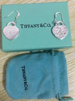 Wholesale hollow sterling silver heart earrings resale online - luxurys Sterling Silver Diamond style Earring hollow words in brand Stud Earrings For Women compatible jewelry with box