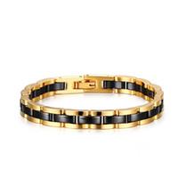 ingrosso braccialetti di tungsteno nero per gli uomini-Bracciali classici da uomo Bracciale in acciaio al carburo di tungsteno ceramico Bracciale in oro bicolore con cinturino in oro placcato nero per uomo