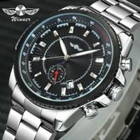 relojes de pulsera de línea secundaria al por mayor-2019 Ganador del asunto los hombres del reloj mecánico automático de acero inoxidable banda luminosa Manos de trabajo sub-dial de pulsera calendario