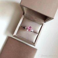 joyas de plata esterlina rosa anillo al por mayor-Anillo de bodas de la joyería superior del diseñador joyería de las mujeres S925 anillo de diamante rosa de plata para los accesorios de las mujeres del banquete del partido