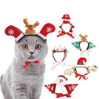sombrero 24 al por mayor-Animales de Navidad del perrito de Headwear Perros Gatos de Santa Moose Imprimir Gorros de los mascotas del navidad gatito Decoración del partido Puntales