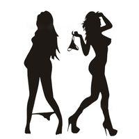 schöner bikini sexy großhandel-Automobil-Motorrad-lustige schöne sexy Frau im Bikini-dekorativen Wand-Aufkleber-Karikatur-Auto-Aufkleber-Schwarzes / Silber