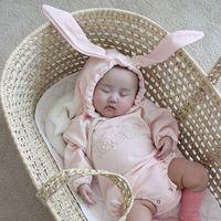 ingrosso le orecchie dei hoodies del bambino-baby designer abiti firmati Autunno Pagliaccetto Felpe con cappuccio Manica lunga Coniglio Lettera con disegno dell'orecchio Pagliaccetto Vestiti 100% cotone ragazza Pagliaccetti ragazzo 0-2T
