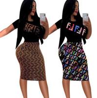 vestido de moda de mujer de europa al por mayor-2019New in Europe and America Fashion Girls Dress FF Carta Impreso Vestido de mujer Manga corta Casual Loose Mini vestido