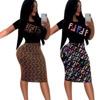 avrupa kadın moda elbisesi toptan satış-Avrupa ve Amerika'da 2019New Moda Kız Elbise FF Mektubu Baskılı Kadın Elbise Kısa Kollu Casual Gevşek Mini Elbise