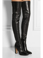 ingrosso stivali alti di colore nero-pelle di pecora nera sopra gli stivali al ginocchio donne ha sottolineato toe grosso stivaletti tacco spessi tacchi alti lungo inverno dei gladiatori stivaletti