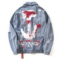 jeans de calidad para niños al por mayor-Hip Hop suelta imprimir Denim chaquetas hombres 2019 de alta calidad Jeans Jole abrigo para Boy 2019 otoño ropa Jeans hombre chaquetas J0241