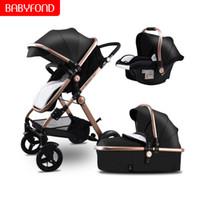 paisagismo de luxo venda por atacado-Babyfond preto 3em1 Stroller 2019 Reversível Assento Push Handle luxo carrinhos de bebê de couro 0-3 anos de idade Alta paisagem