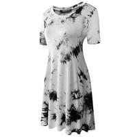 malerei elegant großhandel-Sommerkleid 2019 Elegantes Vintage Kleid Mini Frauen Kleidung A-Line Tinte Malerei Baumwolle Partykleider Ropa Mujer Verano
