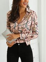 ingrosso eleganti camicette casual-Camicia casual a maniche lunghe stampata con maniche lunghe da lavoro da uomo, camicetta da lavoro a maniche lunghe, camicetta da lavoro a maniche lunghe