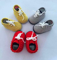 Wholesale hand crocheted baby shoes resale online - QYFLYXUEBaby Yarn hand knitted sneakers baby gift crochet shoes knitting shoes Freeshipping