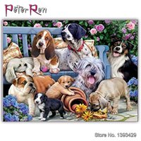 Wholesale paradise paintings for sale - Group buy Diamond Crystal Cross Stitch Painting Animal dogs Full Drill Resin Diamond mosaic Embroidery Puppy paradise Home Decor gift