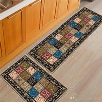 inodoro amarillo al por mayor-Moda patrón geométrico impreso alfombra dormitorio junto a la cama alfombra del piso cojín de cocina baño aseo succión antideslizante estera