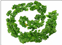 künstliche reben großhandel-Großhandel 2 Meter langes künstliches Blatt-Grün verlässt künstliche Boston-Efeublatt-Rebe immergrüne Rattan-gefälschte grüne Rebe-künstliche Blume