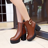 Wholesale work shoes for women heels resale online - Big Size boots women shoes ankle boots for women ladies boots shoes woman winter Side zipper with belt buckle