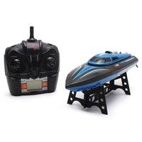 lancha de brinquedo venda por atacado-Atacado H100 2.4 GHz 4-channel 30 kmh alta velocidade do barco com tela de lcd de controle remoto de rádio lancha barco rc toys