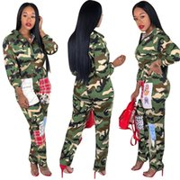 Wholesale streetwear for women online – oversize Camouflage Printed Jumpsuits Casual Overall For Women Turn Down Collar Long Sleeve Harajuku Jumpsuit Streetwear Front Zipper Party Romper