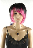 Wholesale straight pink cosplay wig online - WIG Pink MIx Short Straight Cosplay Anime Unisex wig SR4011