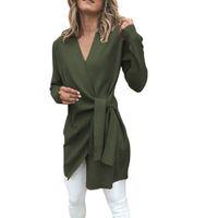 casaco de sobretudo venda por atacado-Mulheres Roupas de Inverno Ocasional de Couro Amarrado Acima do Pescoço V Aberto Terno Da Menina Casaco Outwear Casaco Feminino Casaco