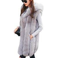 chaleco con capucha rosa al por mayor-Nuevo diseño caliente de la capa del chaleco de la piel de imitación de las mujeres del chaleco de invierno gruesa capucha larga rosa elegante de vestir exteriores más el tamaño de las chaquetas de las señoras S-3XL