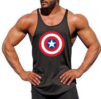 ropa de capitán américa al por mayor-2019 Captain America Gyms Tank Top Bodybuilding Ropa Stringer Singlets Fitness Hombres Golds Muscle Chaleco sin mangas Blusa Masculina