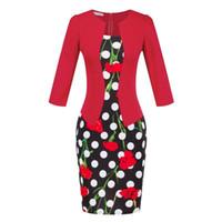 vestidos de escritório agradáveis venda por atacado-Usar lápis Outono vestido do escritório elegante Plus Size Black Red Moda Feminina Bodycon Vestido Ladies Trabalho Vintage Mulheres roupas bonitas